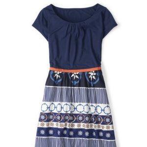 Boden Francine Patterned Dress Blue Short Sleeve